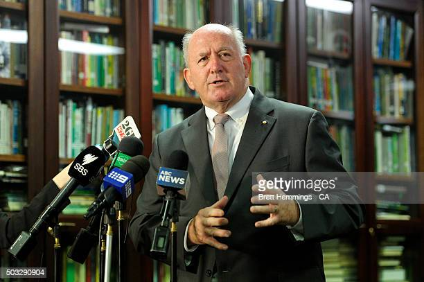 The Govenor General Peter Cosgrove speaks to the media during a Cricket Australia media annoucement on day two of the third Test match between...