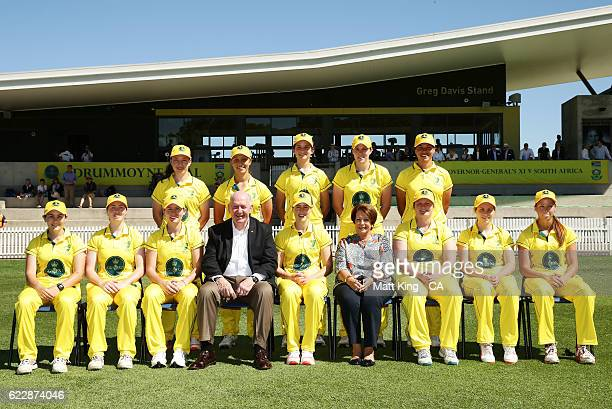 The Governer General's XI pose for a team shot with the GovernorGeneral of Australia Sir Peter Cosgrove and Lynne Cosgrove during the women's tour...