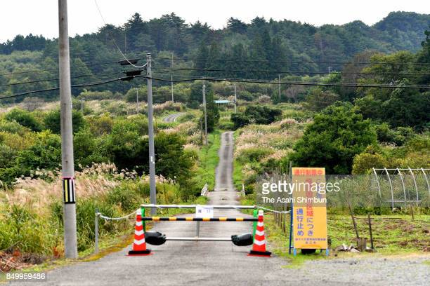 The government has set up barriers at intersections of National Route 114 to prevent cars from entering restricted areas on September 20 2017 in...
