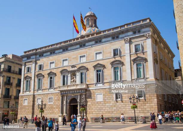 The government of Catalonia 'La Generalitat' building in the capital city of Barcelona with flags