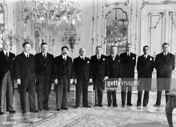 The government of the Protectorate Bohemia and Moravia from left to right Vladislav Klumpar Josef Kalfus Jaroslav Krejci Johann Kapras Emil Hcha...