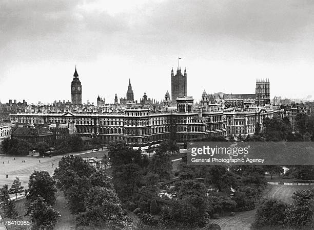 The government offices in London's Whitehall as seen from St James's Park with the Foreign Office and Treasury in front and Big Ben the Palace of...