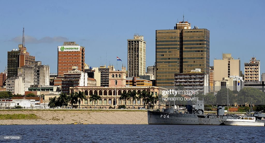 The Government Palace is seen from Asuncion bay on April 25 2014 AFP PHOTO / Norberto Duarte