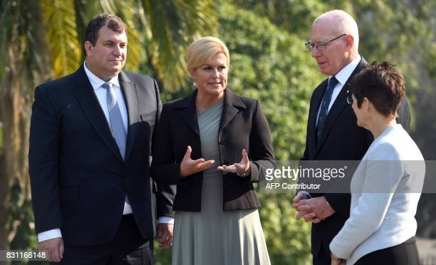 The Governor of New South Wales David Hurley and his wife Linda Hurley chat with with Croatia's President Kolinda GrabarKitarovic and her husband...