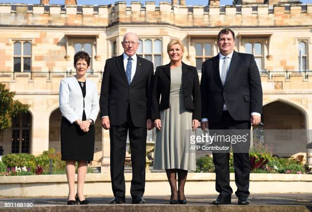 The Governor of New South Wales David Hurley and his wife Linda Hurley pose for a photo with Croatia's President Kolinda GrabarKitarovic and her...