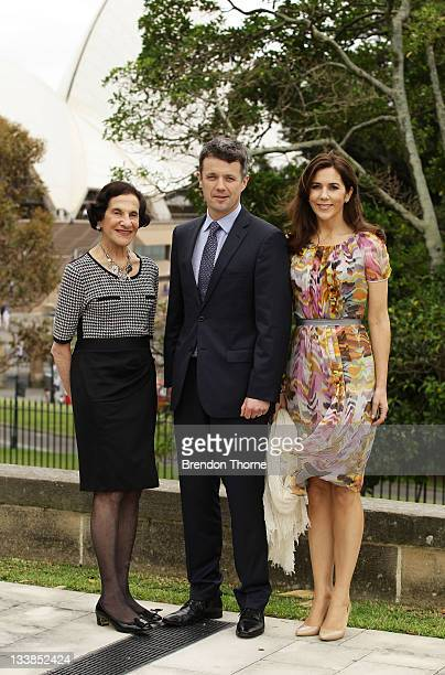 The Governor of NSW Marie Bashir Prince Frederik of Denmark and Princess Mary of Denmark pose in front of the Sydney Opera House during their visit...