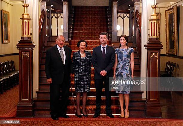 The Governor of NSW Professor Marie Bashir and her husband Nicholas Shehadie pose with Crown Prince Frederik and Crown Princess Mary of Denmark as...