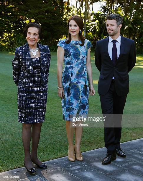 The Governor of NSW Professor Marie Bashir The Crown Prince of Denmark Prince Frederick and Crown Princess Mary of Denmark pose inside the gardens of...