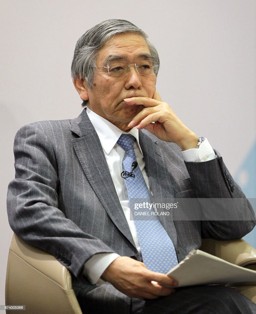 The governor of the Bank of Japan Haruhiko Kuroda attends a conference titled 'Communications Challenges for Policy Effectiveness' organised by the European Central Bank (ECB) at the ECB headquarters in Frankfurt am Main, western Germany, on November 14, 2017. / AFP PHOTO / Daniel ROLAND