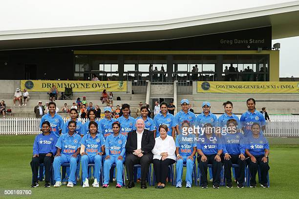 The GovernorGeneral of Australia Peter Cosgrove and Lady Lynne Cosgrove pose with the Women's India for a team photo before the tour match between...