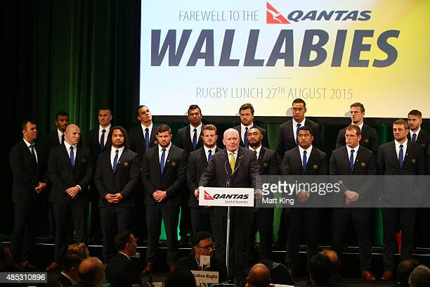 The GovernorGeneral of Australia Peter Cosgrove speaks as the Australian Wallabies 2015 Rugby World Cup squad line up during the Australia Rugby...