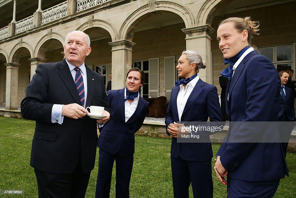 The GovernorGeneral of Australia Sir Peter Cosgrove talks to Australian Matildas players Lisa De Vanna Kyah Simon and Emily van Egmond during the...