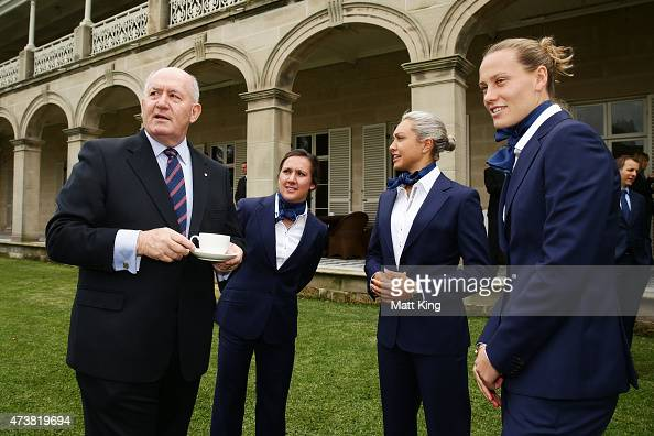 The GovernorGeneral of Australia Sir Peter Cosgrove talks to Australian Matildas players Lisa De Vanna Kyah Simon and Emily van Egmond during the...