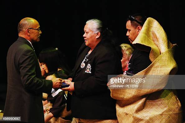 The GovernorGeneral of New Zealand Jerry Mateparae greets All Black rugby legend Jonah Lomu's mother Hepi Lomu during Lomu's Aho Faka Famili memorial...