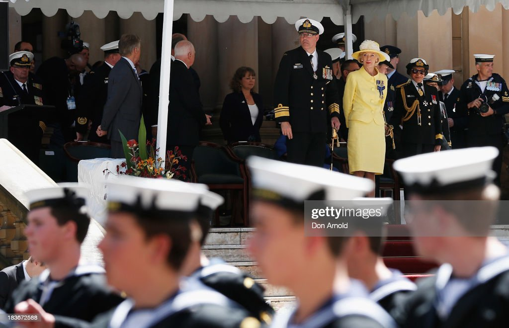 The Governor-General Quentin Bryce observes Navy personnel from the Town Hall steps as they march down George St on October 9, 2013 in Sydney, Australia. Over 4,000 personnel paraded through the streets of Sydney just one day before the end of International Fleet Review in Sydney.