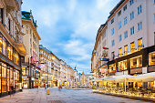 Stock photo of The Graben, one of the most famous shopping streets in downtown Vienna, Austria