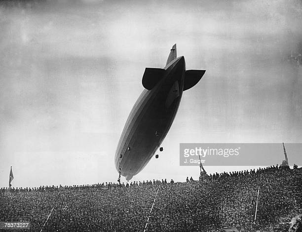 The Graf Zeppelin flying over Wembley Stadium during the FA Cup Final between Arsenal and Huddersfield Town 26th April 1930 Arsenal won the match 20