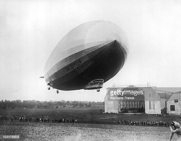 The GRAF ZEPPELIN performing a trial flight above the Friedrichshafen airfield in Germany in 1928