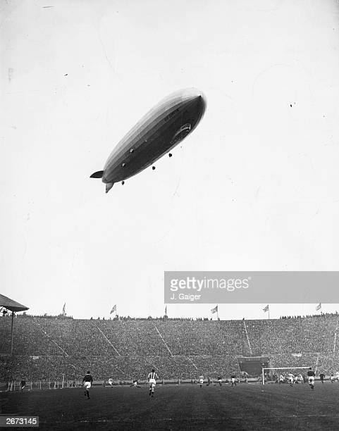 The Graf Zeppelin sails over Wembley Stadium during the FA Cup final between Arsenal and Huddersfield Town