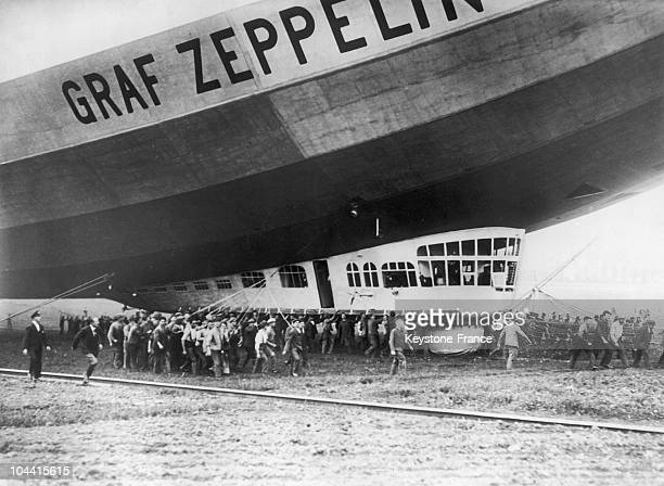 The Graf Zeppelin the then largest built aerostat in the world is secured to the ground after a trial flight at the Friedrichshafen airfield in...