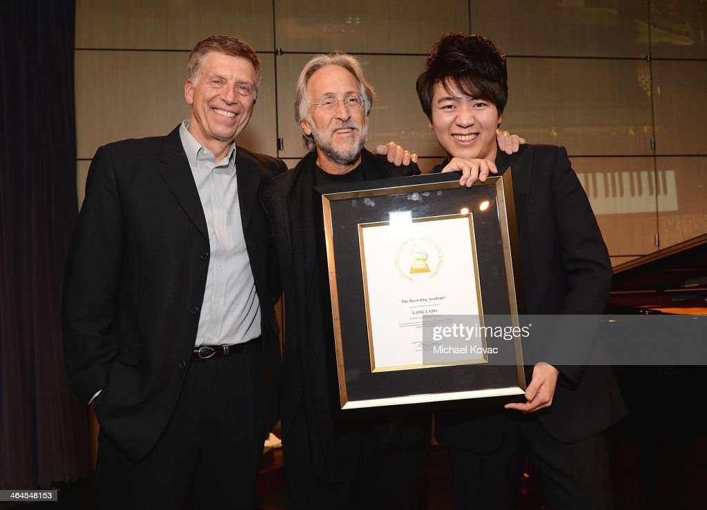 The GRAMMY Museum Executive Director Bob Santelli, President/CEO of The Recording Academy Neil Portnow, and pianist Lang Lang attend An Evening With Lang Lang at The GRAMMY Museum on January 22, 2014 in Los Angeles, California.