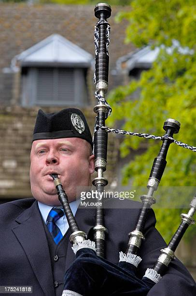 The Grampian Police Pipe Band at Balmoral Castle Aberdeenshire Scotland UK