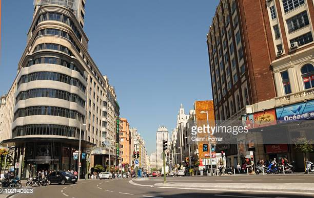 The 'Gran Via' one of the most important and manycolored streets of Madrid has fulfilled hundred years 9th Juny 2010 Madrid Spain