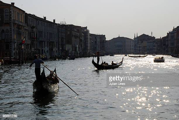 The Grand Canal with gondolas and sunlight