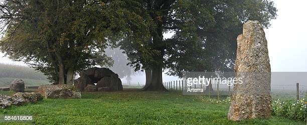 The Grand Dolmen de Weris in the mist Belgian Ardennes Belgium