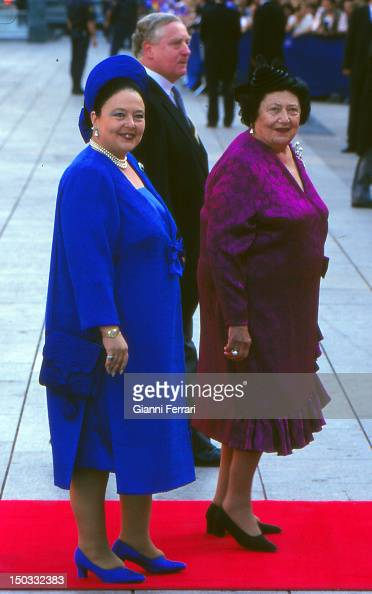 The Grand Duchess Leonida of Russia and her daughter Maria at the wedding of the Infanta Cristina daughter of the Spanish Kings Juan Carlos and Sofia...