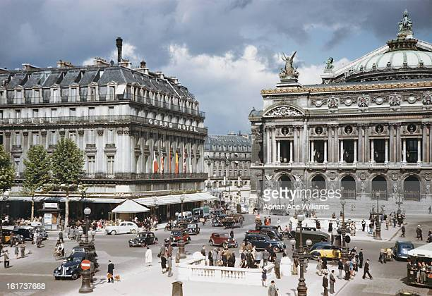 The Grand Hotel and Palais Garnier on the Boulevard des Capucines in Paris France circa 1960