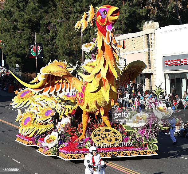 The Grand Marshall Trophy winner by Singpoli is displayed on the parade route during 126th Rose Parade Presented by Honda on January 1 2015 in...