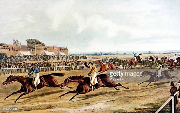 The Grand National Steeplechase Aintree Liverpool England 26th February 1839 Illustration The 1839 Grand National shows the finish of the first ever...