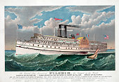 The Grand New Steamboat Pilgrim the Largest in the World circa 1883 Subtitle is 'Flagship of the Fall River Linerunning between New York and Boston...