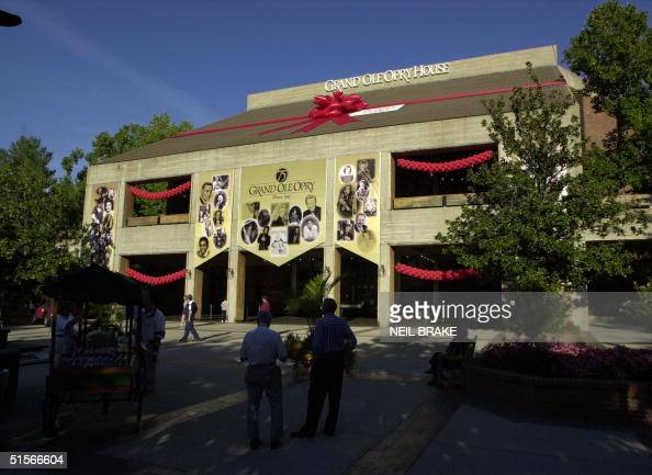 The Grand Ole Opry House in Nashville Tennessee is shown wrapped in a red bow in honor of the Grand Ole Opry's 75th Birthday on 13 October 2000 A...