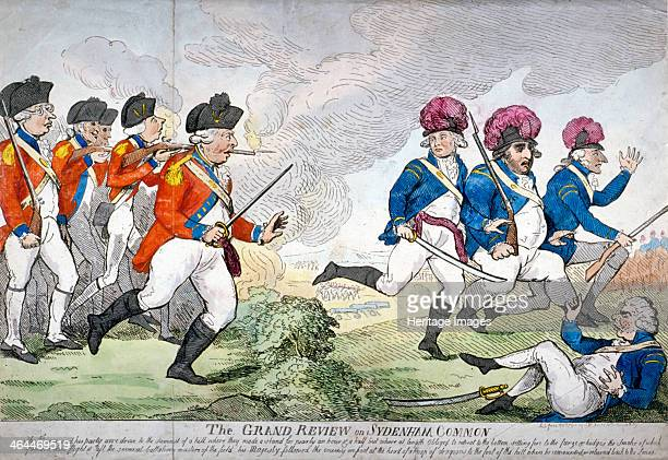 'The grand review on Sydenham Common ' 1792 Dressed in military uniform King George III followed by William Pitt the Younger Edmund Burke and others...