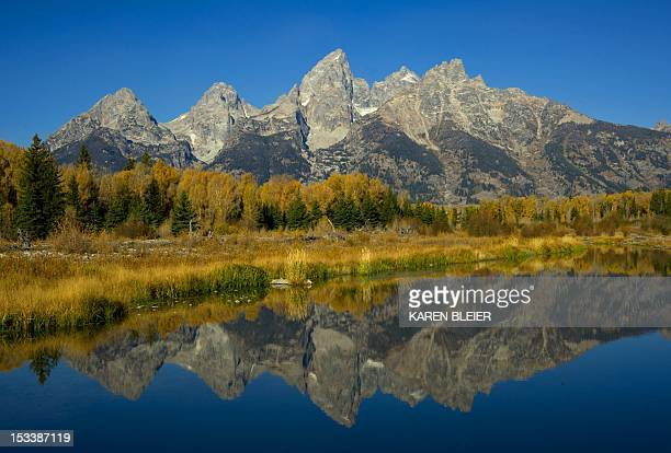 The Grand Tetons are seen October 4 2012 in the Grand Teton National Park in Wyoming Grand Teton National Park is located in northwestern Wyoming...