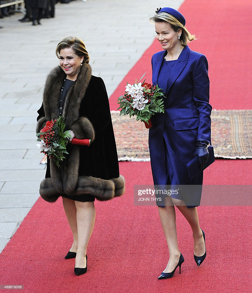 The Grande Duchess of Luxembourg Maria Teresa welcomes Queen Mathilde of Belgium during an official by the Belgian royal couple on December 02 2013...
