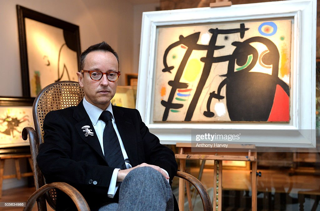 The grandson of Spanish artist <a gi-track='captionPersonalityLinkClicked' href=/galleries/search?phrase=Joan+Miro&family=editorial&specificpeople=190767 ng-click='$event.stopPropagation()'>Joan Miro</a>, Joan Punyet Miro at a recreation of the studio of the painter <a gi-track='captionPersonalityLinkClicked' href=/galleries/search?phrase=Joan+Miro&family=editorial&specificpeople=190767 ng-click='$event.stopPropagation()'>Joan Miro</a>, presented by Gallery Mayoral, on January 19, 2016 in London, United Kingdom.