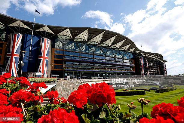 The grandstand in bloom at Ascot racecourse on July 25 2015 in Ascot England