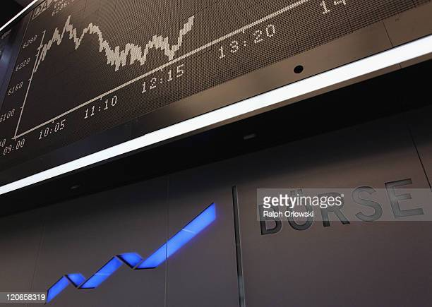 The graph showing the day's performance of the DAX index at the Frankfurt Stock Exchange on the first day following the US debt downgrade is pictured...