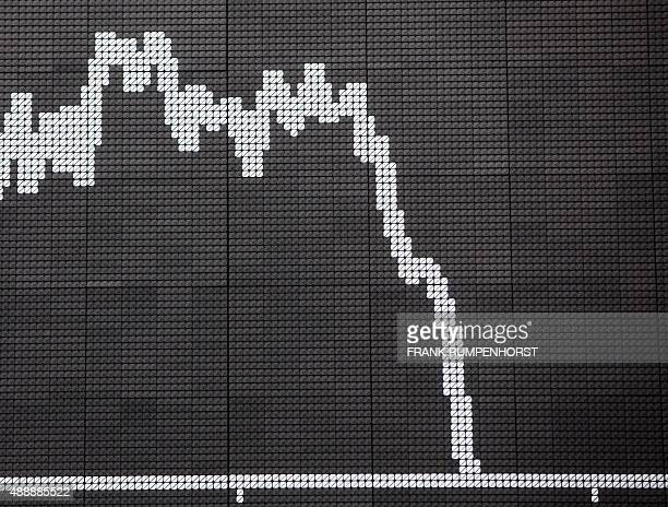 The graph shows the course of the German bluechip DAX 30 at the stock exchange in Frankfurt am Main central Germany on September 18 2015 The German...