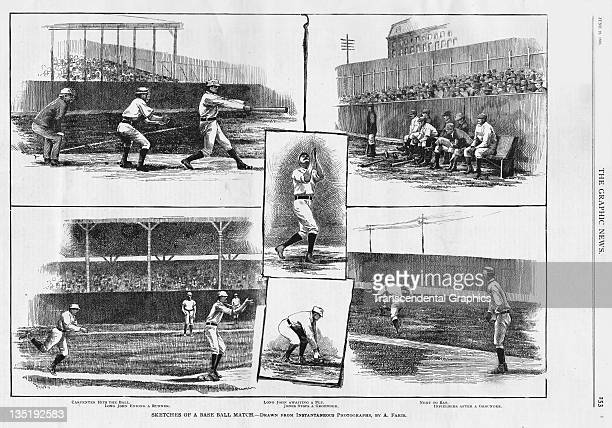 NEW YORK NY CIRCA 1886 The Graphic News a pictorial newspaper from New York displays a page of woodcuts from a baseball game in Brooklyn between the...