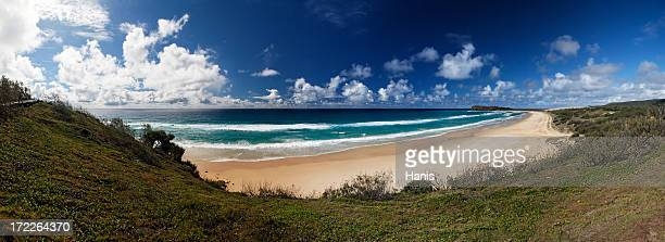 The grass, sand, water, and sky of Fraser Island