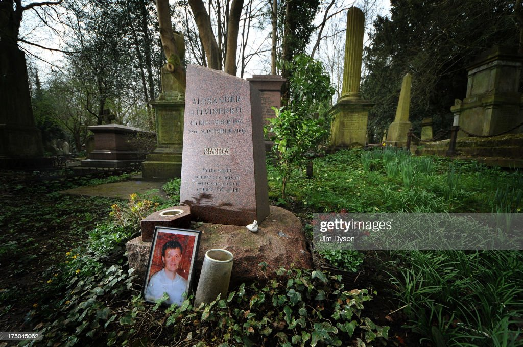 The grave of Alexander Litvinenko at Highgate Cemetery on April 17, 2013 in London. Dead Famous London is a journey through the capital's cemeteries, churches, cathedrals, crypts and crematoria discovering its historic famous graves.
