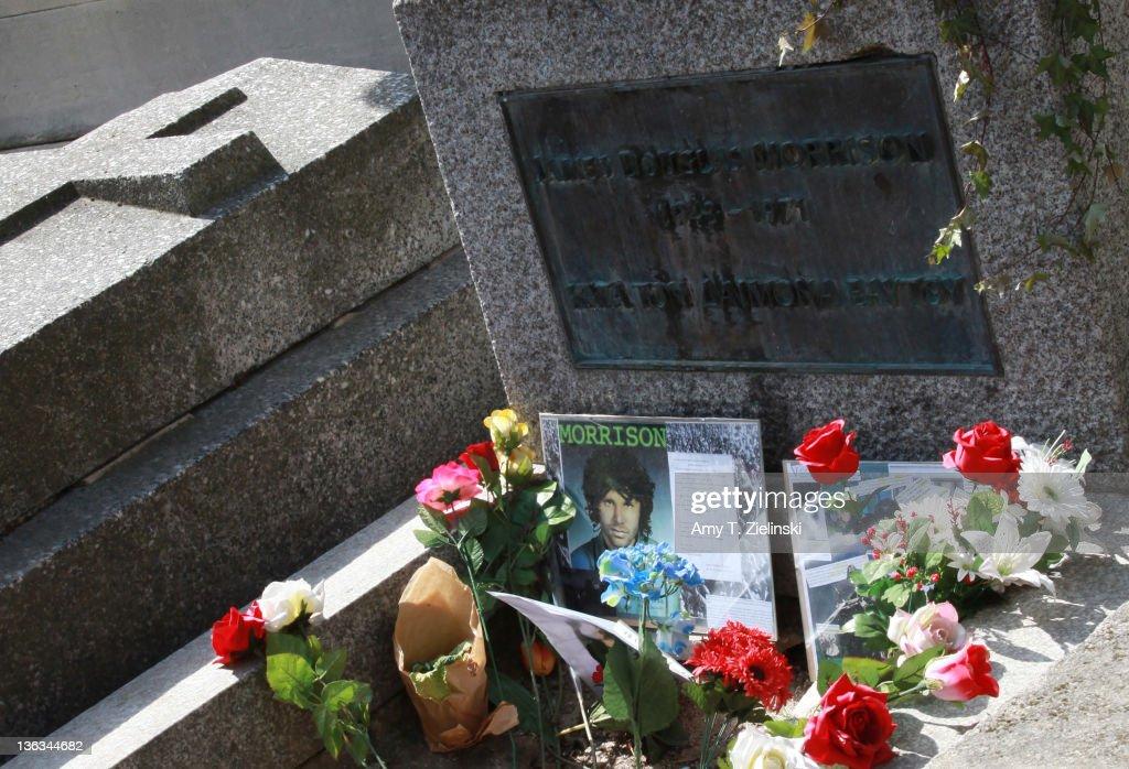 The grave of American singer Jim Morrison (1943 - 1971) in Pere Lachaise Cemetery, Paris, 20th April 2010.