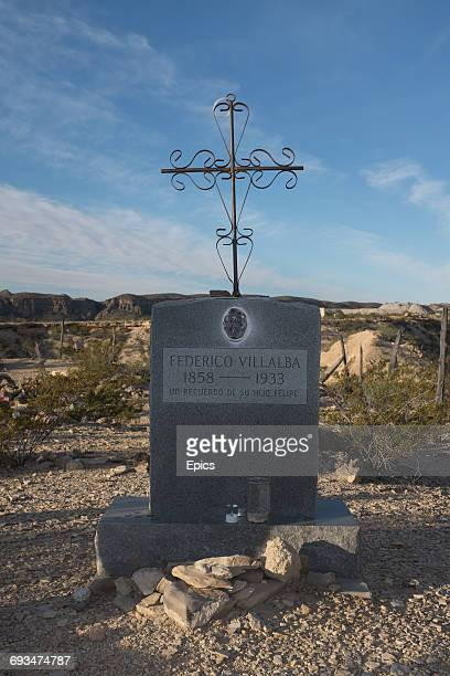 The grave of Federico Villalba in the cemetery of the ghost town Terilingua Texas the cemetery dates from the early 1900's and was the final resting...
