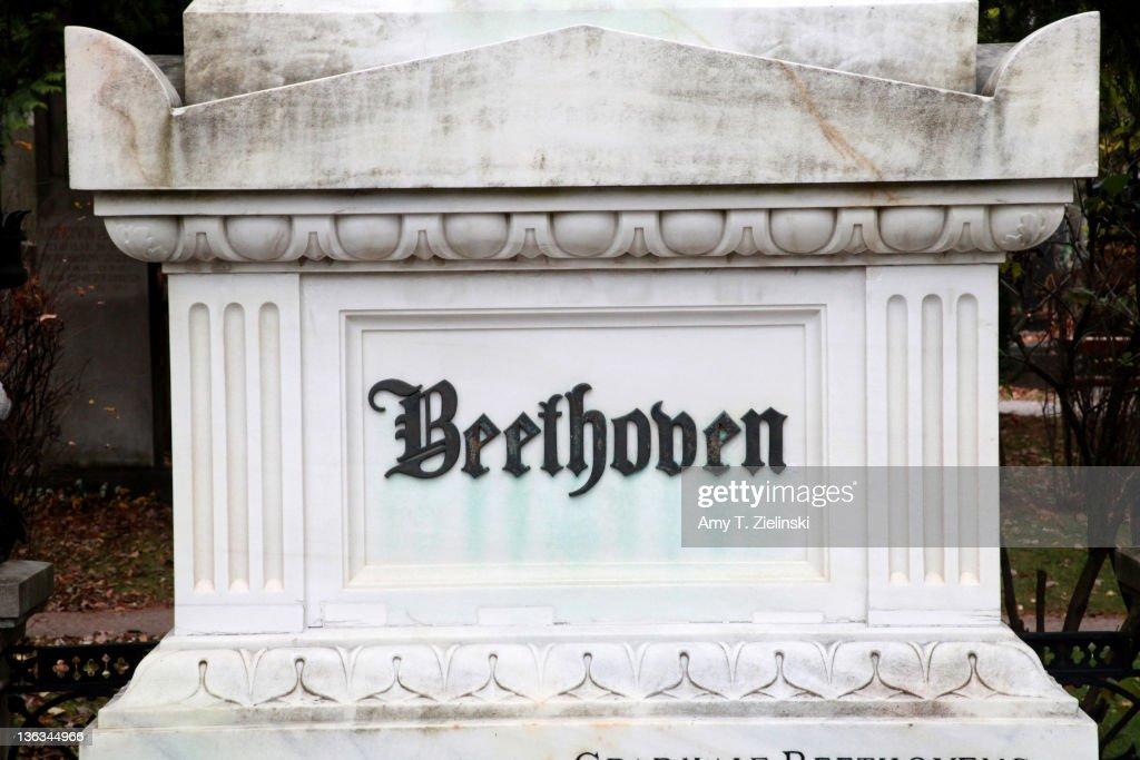 The grave of German composer Ludwig van Beethoven (1770 - 1827) in the Zentralfriedhof cemetery, Vienna, Austria, 17th November 2010.