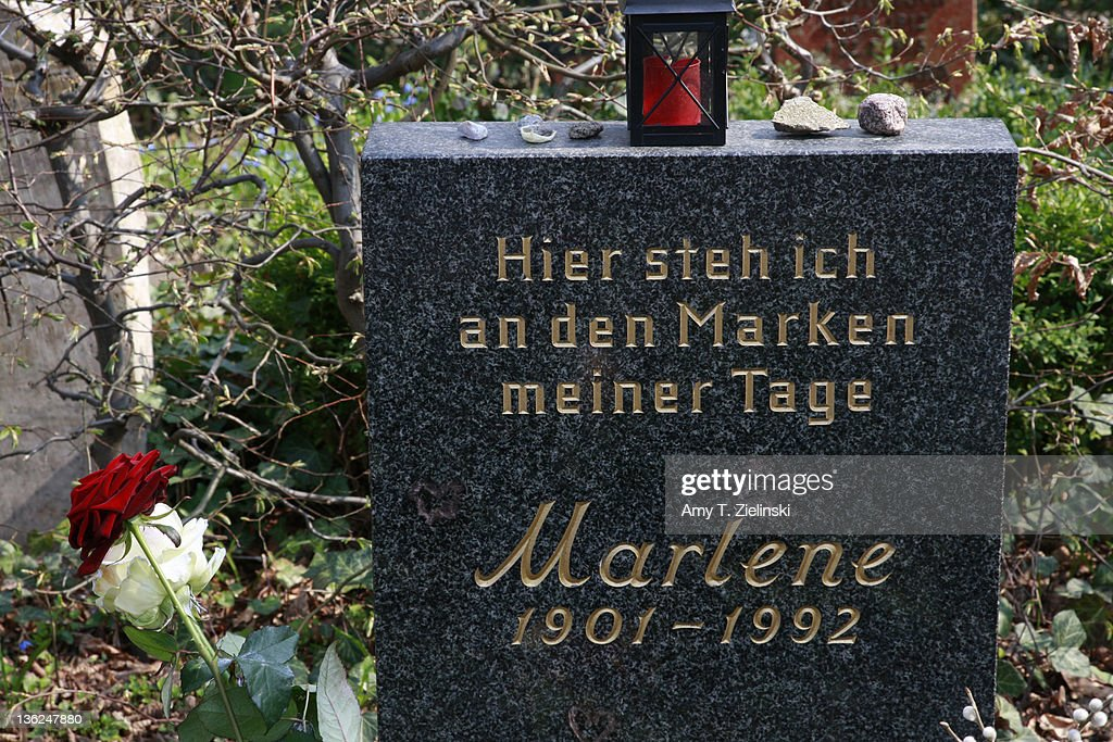 The grave of German-born american film actress and singer Marlene Dietrich (1901 - 1992) in the Stadtischer Friedhof III cemetery in Berlin, 6th April 2009.
