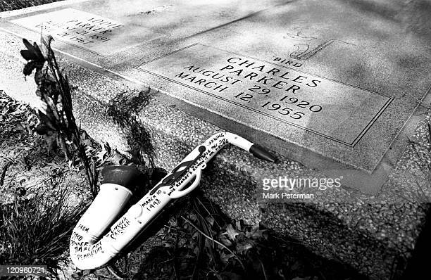 The grave of Jazz legend Charlie Parker at Lincoln Cemetery in his hometown of Kansas City Missouri